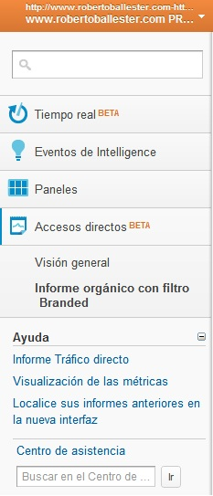 Visión general Acceso Directo Google Analytics