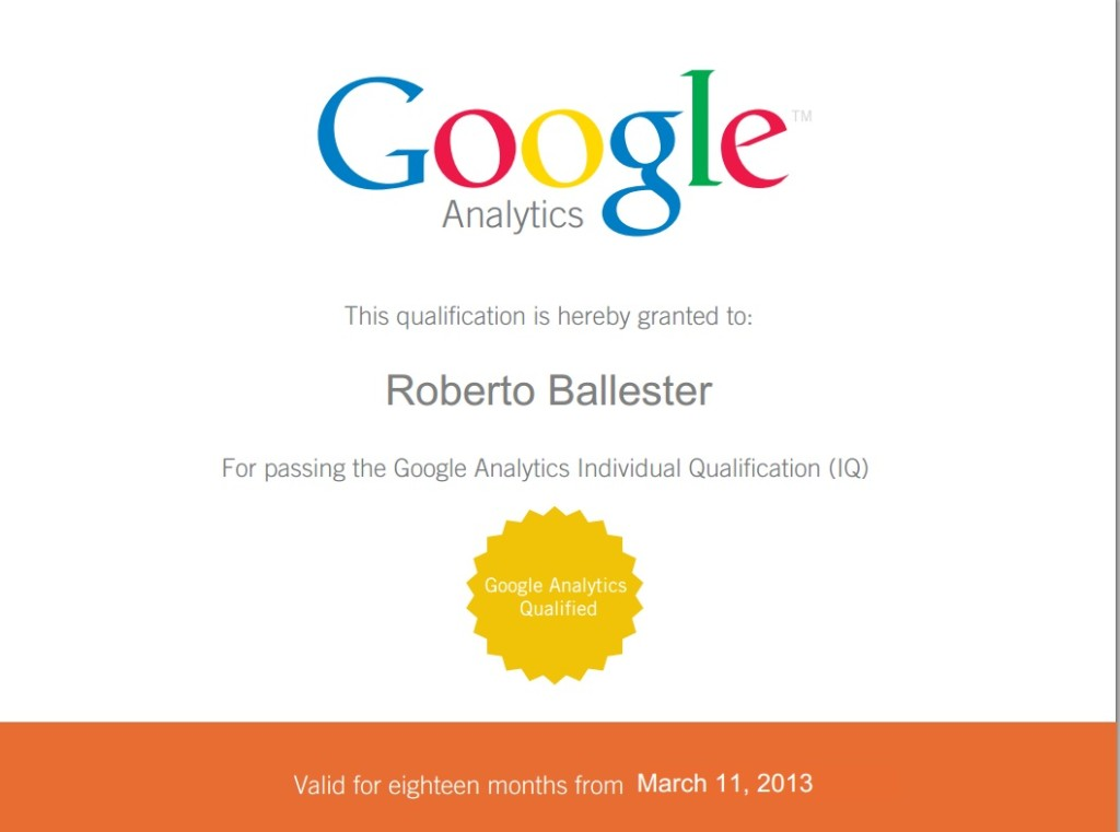 Roberto Ballester Google Analytics IQ