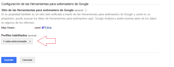 Enlazando perfil Google Analytics en Webmaster Tools