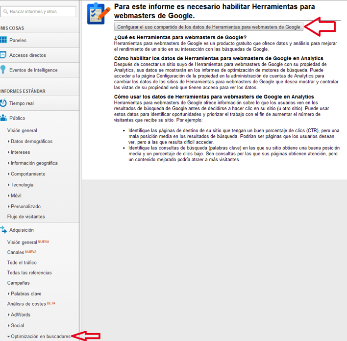 Uso compartido Google Analytics y GWT